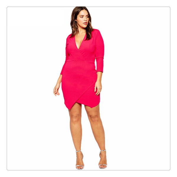 peony hot pink sexy trendy plus size Bodycon mini dress - WomensPlusSizeShop dress