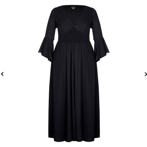 stevie Plus Size maxi Dress boho angel Bell Sleeves Black Long Women Floor Length Evening Party Clothes - WomensPlusSizeShop dress
