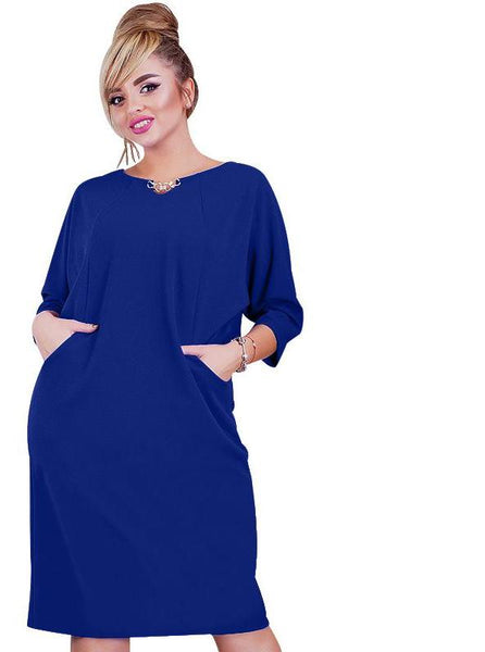 lena Plus Size Dress Solid O-neck Sundress pockets casual Female Clothing - WomensPlusSizeShop dress