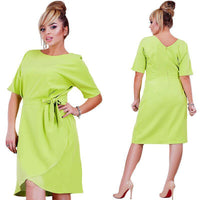 tulip Plus Size wrap Dress Solid O-Neck Women Sundress  Loose green pink red - WomensPlusSizeShop dress