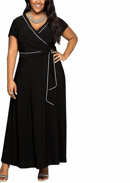 Summer Plus Size Belted Sexy Maxi Dress V-neck wrap Short Sleeve Long Casual Black,Purple,blue,navy blue - WomensPlusSizeShop dress