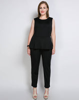 Plus Size peplum Jumpsuit Fashion Ruffle - WomensPlusSizeShop jumpsuit