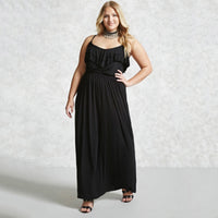 roberta boho Plus Size Long maxi Dress Spaghetti Strap Ruffles blue black - WomensPlusSizeShop dress