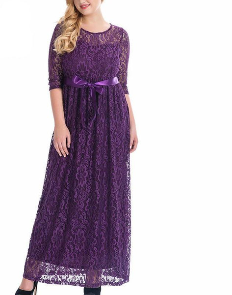 romantic Plus Size White Dress Lace Maxi Belted Party Half Sleeve Vintage Long Navy blue,Purple,Black - WomensPlusSizeShop dress