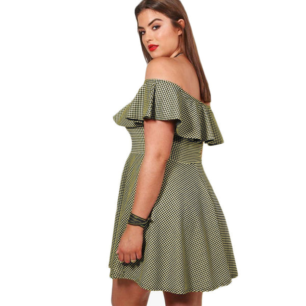 karly plus Size Plaid Off The Shoulder Dress Fit And Flare bardot mini ruffle - WomensPlusSizeShop dress