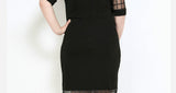futura sheer mesh grid plus size Dress For Women black white - WomensPlusSizeShop dress