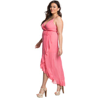pretty pink Plus size slip dress party cocktail sheer ruffled Summer Spaghetti Strap - WomensPlusSizeShop dress