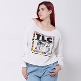 tlc crazy sexy cool Plus Size sweatshirt Women Clothing Fashion Shirt Slash Neck Off the Shoulder Top retro vintage 90s - WomensPlusSizeShop tops