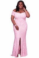 sessily Off the Shoulder Plus Size Maxi dress Pink white Lace long cocktail Party Gowns - WomensPlusSizeShop dress
