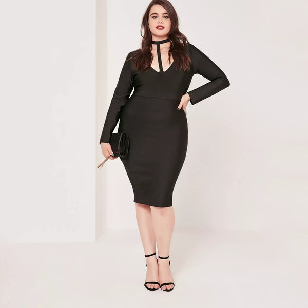 fetisha choker Plus Size bodycon Dress black Sexy midi Sheath - WomensPlusSizeShop dress