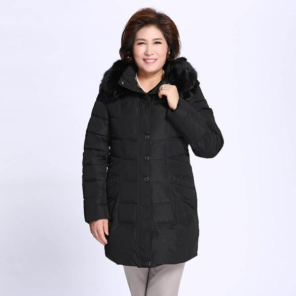 jenny plus size winter hooded coat light womens down jacket hoodie hoody hood red black green - WomensPlusSizeShop coat