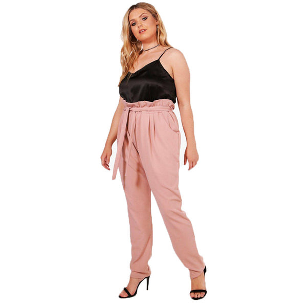 chrissy Women Plus Size High-Waist Ruffled Pink Pants retro trousers - WomensPlusSizeShop bottoms