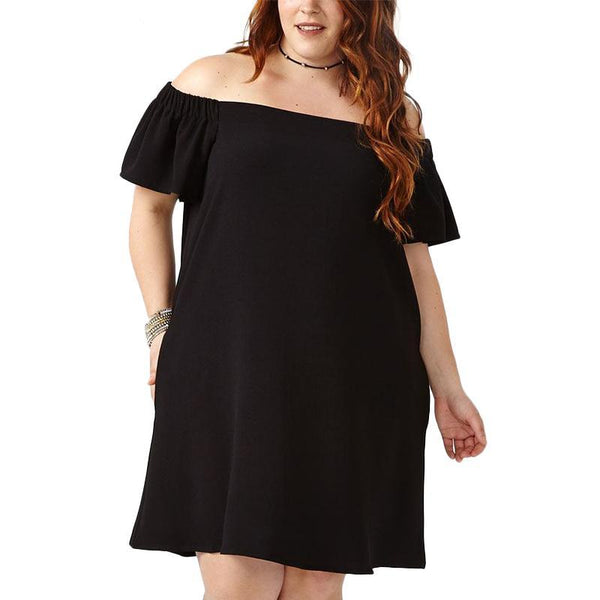 vivvy Plus Size peasant Dress Slash Neck Women Fashion off the shoulder Clothing Black Party lbd - WomensPlusSizeShop dress