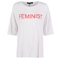 feminist Plus Size T Shirt Short Sleeve Top Tee red white - WomensPlusSizeShop tops