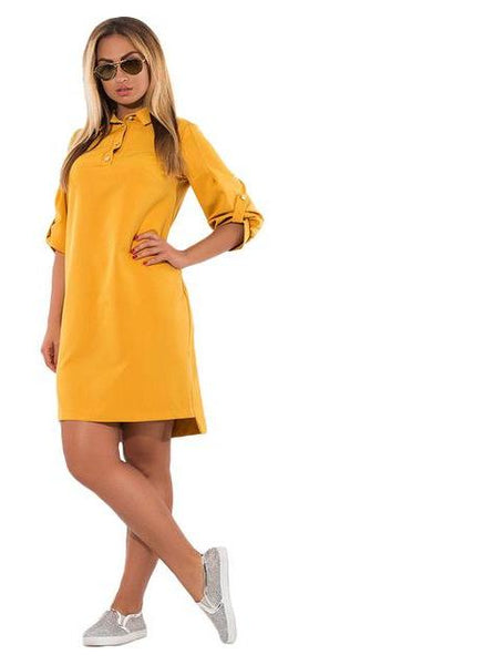 Plus Size Polo Dress Casual Loose Ladies Office Three Quarter Blue