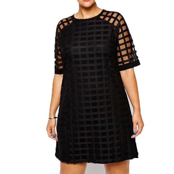 tron Women Plus Size grid Pattern Sheer Mesh Shift dress lbd - WomensPlusSizeShop dress