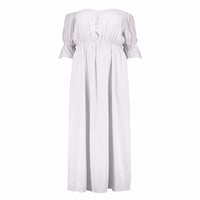 kesha Boho peasant Plus Size maxi dress white Black Long - WomensPlusSizeShop dress