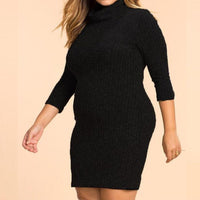 Plus Size Bodycon Sweater Mini Dress Turtleneck 3/4 Sleeve Autumn Casual Stretch Knitted black grey gray - WomensPlusSizeShop dress