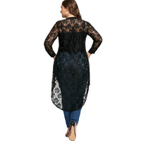 sheer Plus Size Lace hilo shirt Blouse Top Long Sleeve High Low Black purple - WomensPlusSizeShop tops