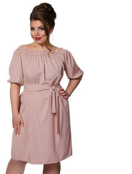 debbie Plus Size off the shoulder peasant Dress Polka Dot Female Casual Clothing Loose pink black blue red polkadots retro - WomensPlusSizeShop dress