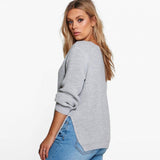 keyhole sexy Plus Size Sweater Women Clothing Casual Sexy Solid cut Out cutout top Warm black gray pink grey - WomensPlusSizeShop tops