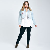 love it Plus Size patches denim jacket Coat hipster trendy Jeans light blue - WomensPlusSizeShop coat