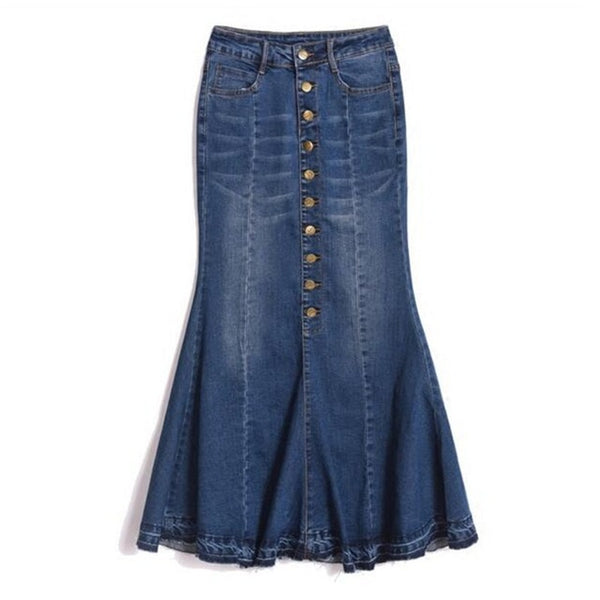 joni Plus Size Denim maxi Skirt boho High Waist Sexy Ruffles Slim Woman Mermaid modest Long Casual jean - WomensPlusSizeShop bottoms
