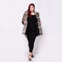 Womens Plus Size Leopard Fur Coat Vintage Elegant Warm winter jacket - WomensPlusSizeShop coat