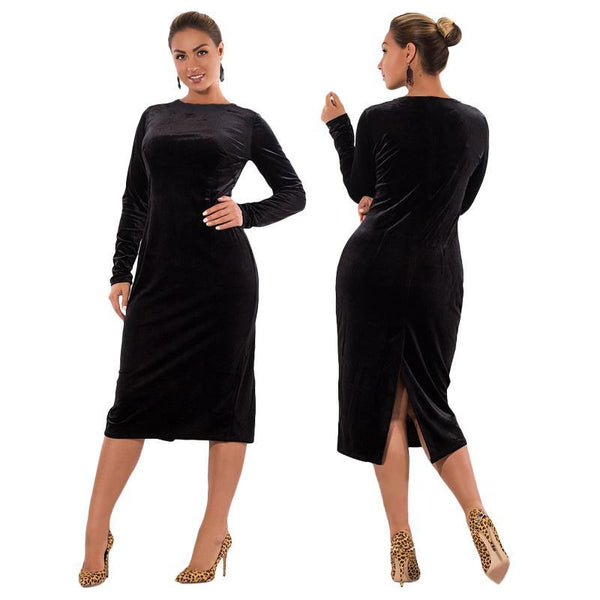 teese Plus Size Velvet wiggle Dress midi Long Sleeve Bodycon Elegant Female burgundy wine red black - WomensPlusSizeShop dress