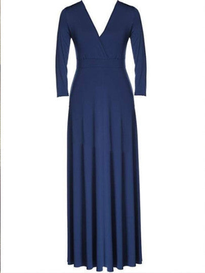 Plus Size maxi V-Neck Women's Long Sleeve Dress purple or blue - WomensPlusSizeShop dress