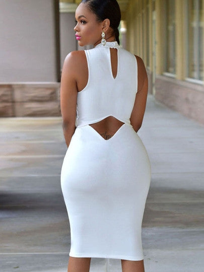 chyna sexy Plus Size white Bodycon Dress cutout Turtle Neck Open Back Women's - WomensPlusSizeShop dress