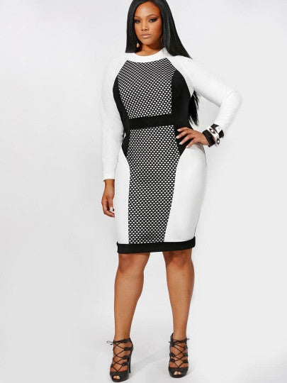 matrix black White sexy Plus Size Bodycon Dress sheer Mesh midi - WomensPlusSizeShop dress