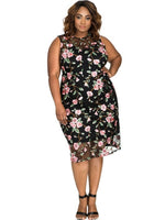 embroidered sheer Black floral Plus Size midi Dress Embroidery Women's Sheath - WomensPlusSizeShop dress