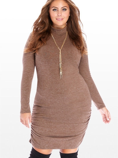 aniston Brown Turtleneck Plus Size Women's Sweater Dress - WomensPlusSizeShop dress