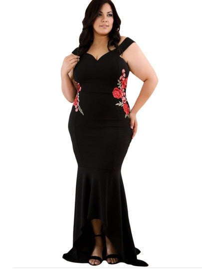 ava Plus Size Women's Maxi Dress floral Embroidery black burgundy - WomensPlusSizeShop dress