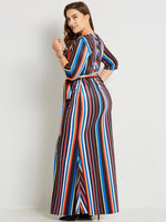 alaurra Plus Size boho Half Sleeve rainbow Stripes Women's Maxi Dress - WomensPlusSizeShop dress