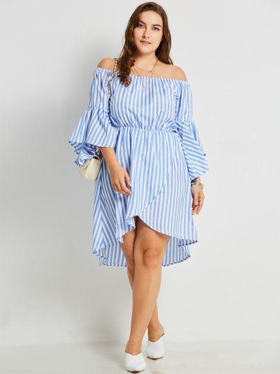 riley off the shoulder Plus Size dress Striped Womens casual ruffles - WomensPlusSizeShop dress