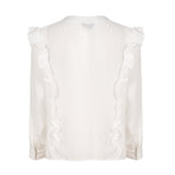 prairie Plus Size Shirt ruffled white Blouse Long Sleeve button top - WomensPlusSizeShop tops