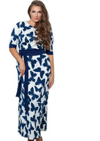 blue mariah Plus Size Maxi Dress Butterfly Casual loose Women Clothing tie belt white navy - WomensPlusSizeShop dress