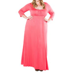 watermelon Plus Size Womens Long Sleeve Maxi Dress - WomensPlusSizeShop dress