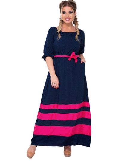 letizia Plus Size Striped Women's Maxi Dress hot pink or blue - WomensPlusSizeShop dress