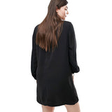 khloe Plus Size Sexy Casual Dress black lbd Women's Sheer Sleeve Chiffon mini - WomensPlusSizeShop dress