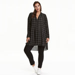 Plus Size tunic V-Neck Long Sleeve Shirt top blouse black white plaid green - WomensPlusSizeShop tops