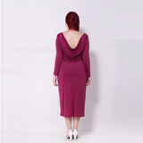 carole Plus Size midi slit Fashion Women Split  Backless Elegant Long Sleeve Purple Dress - WomensPlusSizeShop dress