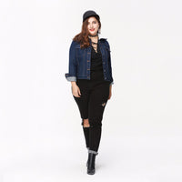 lezley Womens Plus Size Warm dark Denim jacket Coat - WomensPlusSizeShop coat