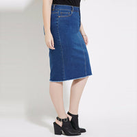 Plus Size denim midi skirt Fashion Women Clothing Casual Streetwear knee-length Pockets modest dark blue - WomensPlusSizeShop bottoms