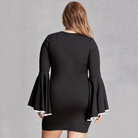 carnaby Plus Size bodycon lbd Ruffles Sleeves Sexy Sheath - WomensPlusSizeShop dress