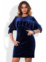 jessi Plus Size Women's Velvet ruffled Bodycon Dress blue burgundy black - WomensPlusSizeShop dress