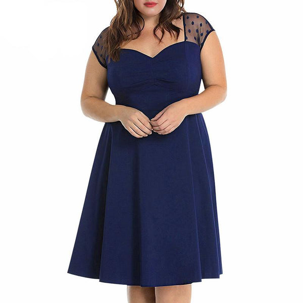 betty Vintage Plus Size Dress Lace Sleeve Dress sheer Dot Party Midi Swing A-line burgundy red navy blue skater - WomensPlusSizeShop dress