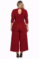 Autumn Plus Size Jumpsuit 3/4 Sleeve Womens Cut Out Wide Legged pants red white yellow - WomensPlusSizeShop jumpsuit
